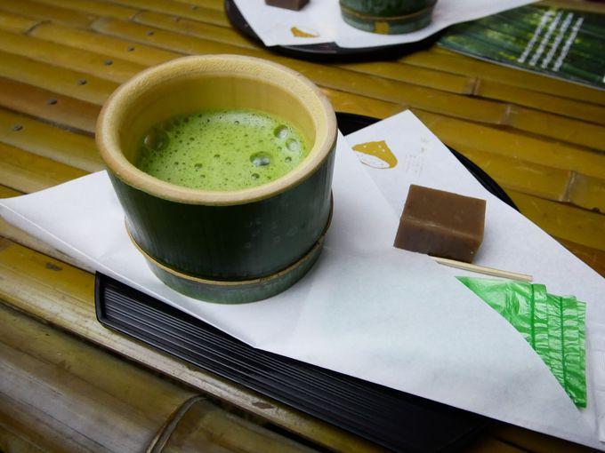 若山農場産の栗で作った和菓子や抹茶で一休み!