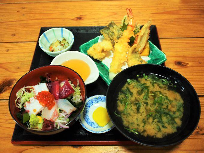 海鮮丼定食はボリュームあり