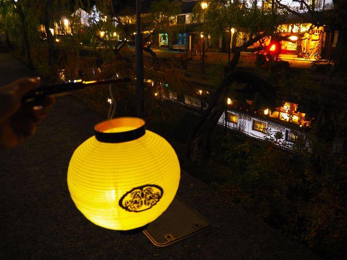 夜は美観地区のライトアップを散策