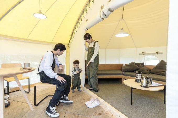 グランピングも体験できる常設テント