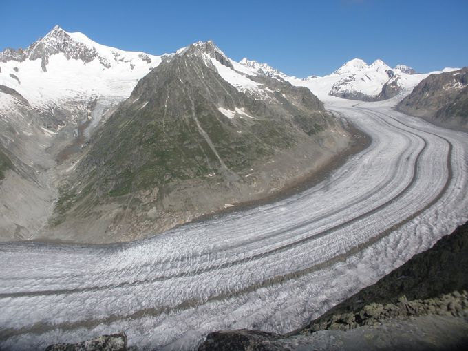 エッギスホルン山頂から眺める世界自然遺産のアレッチ氷河!