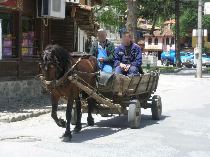 長閑な田舎の小さな村、馬車が現役で活躍するコプリフシティッツァ