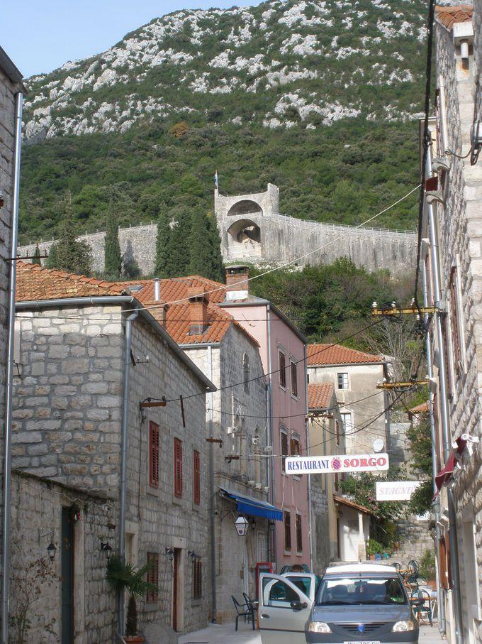 ストンの町並みから見上げる城壁