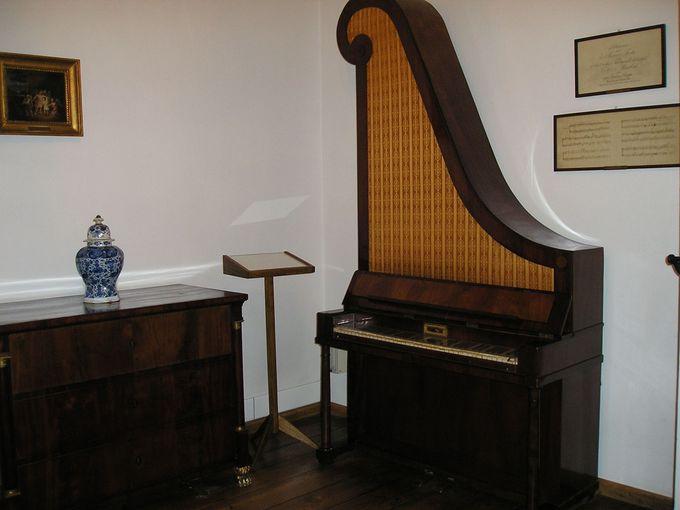 生家内は、ゆかりのピアノや資料が並ぶショパン博物館