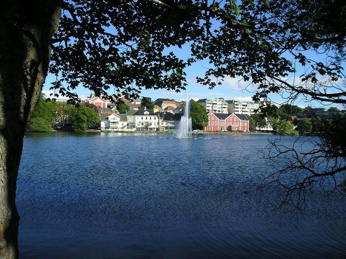 市立公園の前に広がるブレイア湖