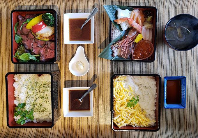 海鮮重にステーキ重の朝食!?