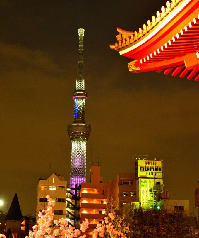 昼だけでなく、夜も浅草寺を楽しめる好立地