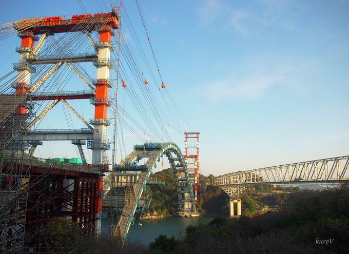 建設中の新しい橋と1号橋をみるならここ!「天門橋展望所」