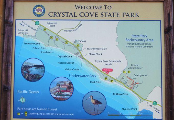 日中でも夕焼けでも絶景のポイント「クリスタルコーブ・ステイトパーク」
