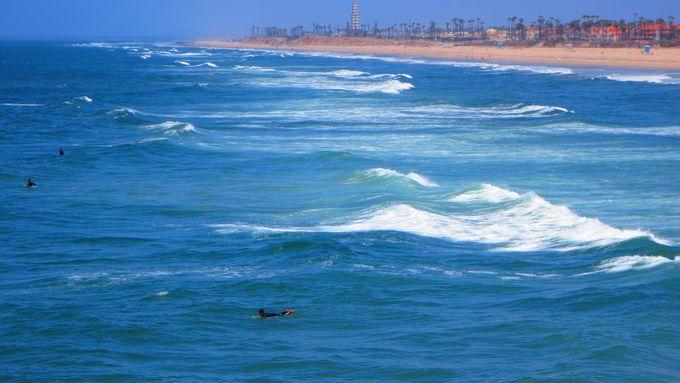 桟橋はサーフィン上級者を眺められる、絶好のサーフシアター!