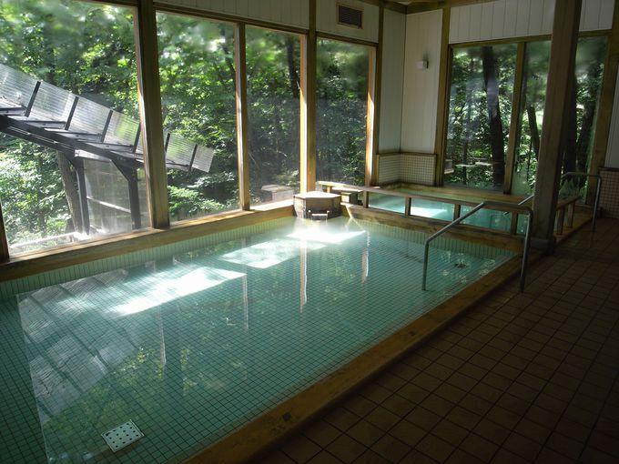 緑が映える清々しい内湯に冷たい温泉が!