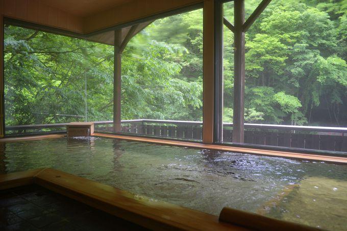 塩辛い温泉を浸かって楽しむ