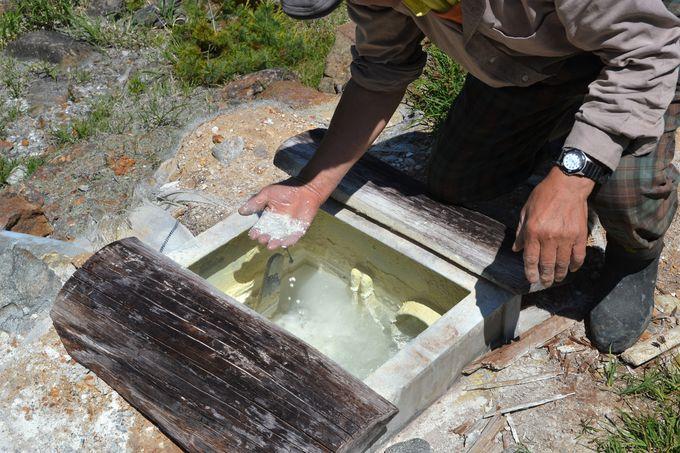 湯守の案内で源泉地帯の奥へ
