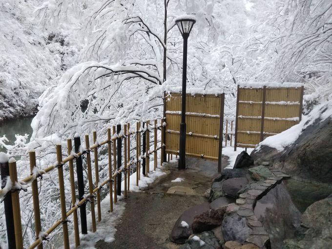 女湯のほうが圧倒的に眺めよし!渓谷に抱かれる雪見露天