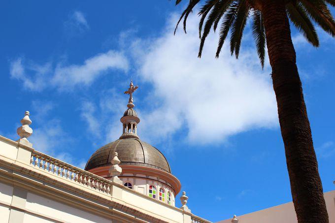 スペイン風の建物と南国の植物が街全体をカラフルに
