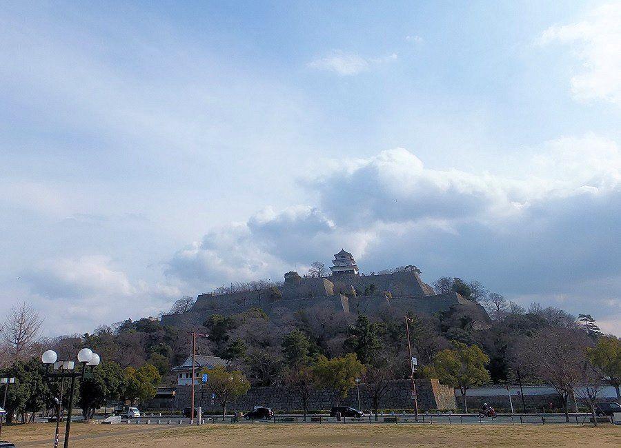 遠くからでもそれとわかる、石垣の要塞に鎮座する現存天守!