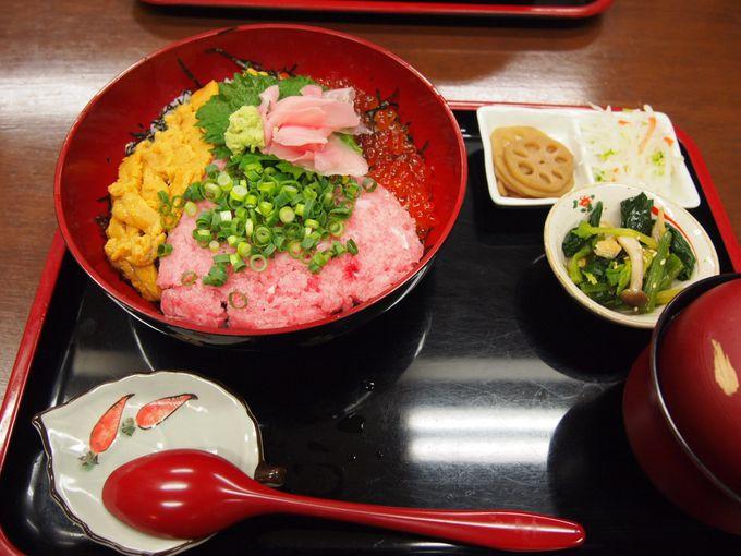 新鮮なお魚に舌鼓!!ボリュームたっぷりの「三色丼(海鮮丼)」♪