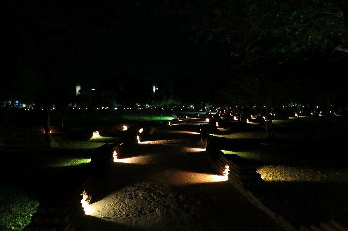 ロマンチックな夜のライトアップ