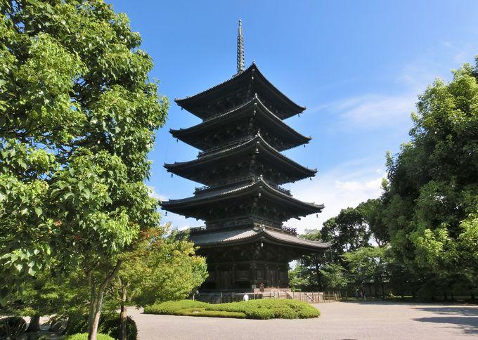 「東寺」の境内の配置と国宝「五重塔」