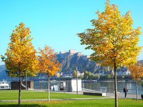 ドイツ・コブレンツ、世界文化遺産エーレンブライトシュタイン要塞とライン川畔を歩く