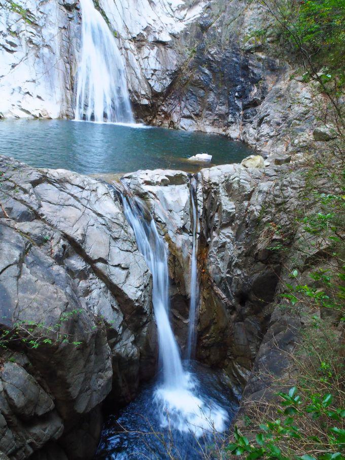 43mの高さを誇る雄滝、手前の夫婦滝、3つの滝を楽しもう