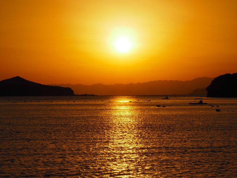 日本の夕陽百選!志摩地中海村「サンセットクルーズ」、カモメも!