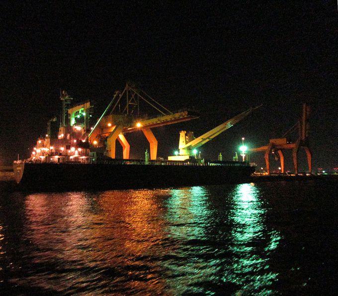 通称「キリンさん」!巨大クレーン&コンテナ船も眼前に!