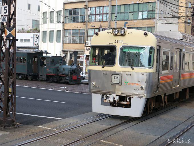 国内唯一の郊外電車と路面電車の「ダイヤモンドクロス」
