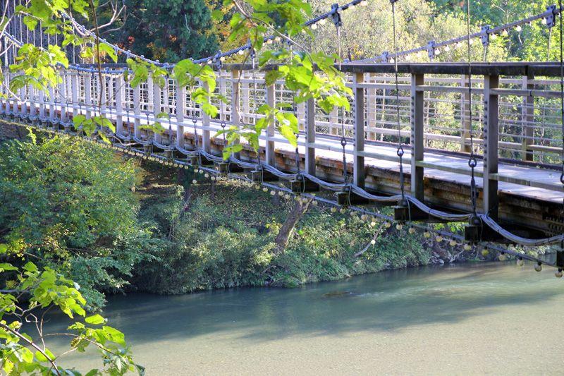 吊橋がかかる清流は癒しのスポット