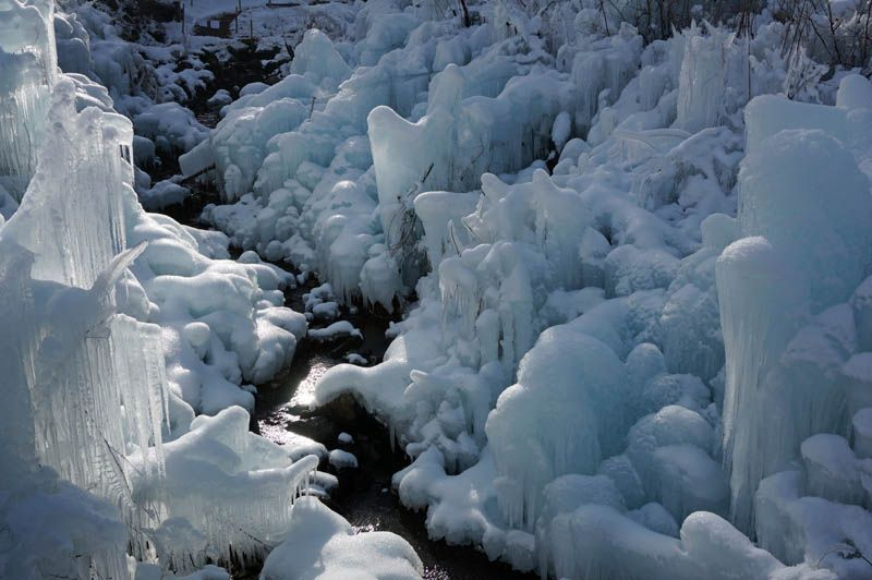 朝日に輝く巨大な氷柱群はまるでファンタジーの世界