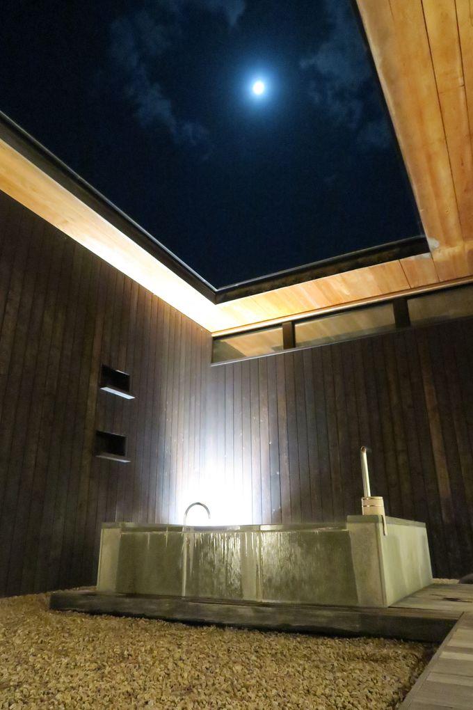 星を見ながらゆっくり浸かる、露天風呂