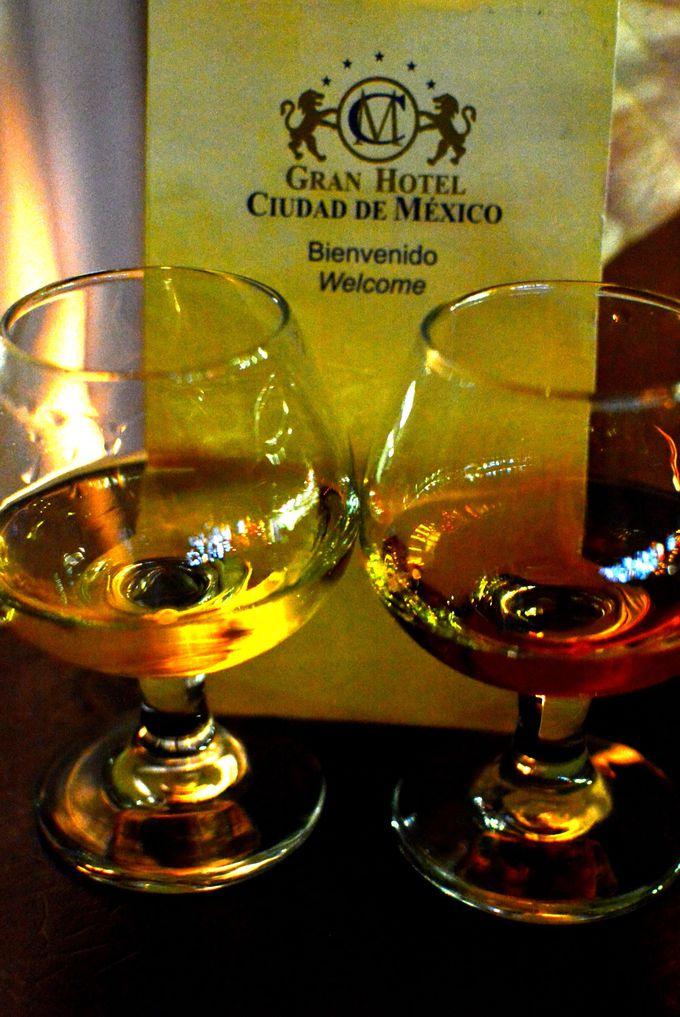 ソカロ(中央広場)を見下ろしながらメキシコ名物テキーラで乾杯♪