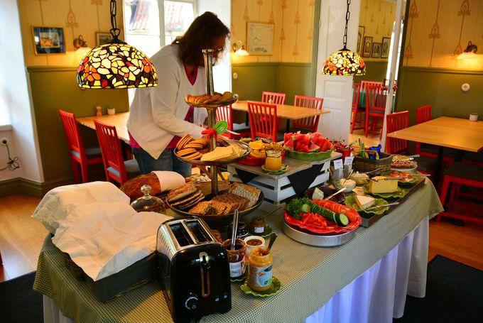 盛り付けも綺麗で見た目にも美味しい朝食はゆっくり時間をかけて!