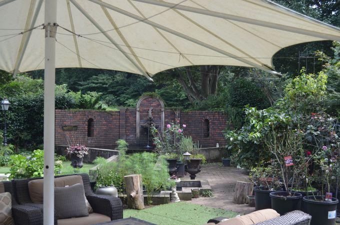 前庭と裏庭、異なる2つの英国式庭園が楽しめる