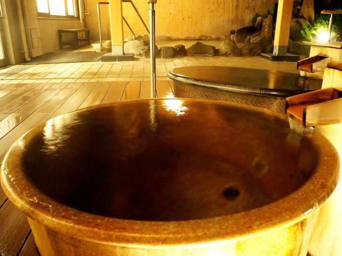 源泉かけ流しの「なみなみの湯」。持続する美肌効果がすごい!