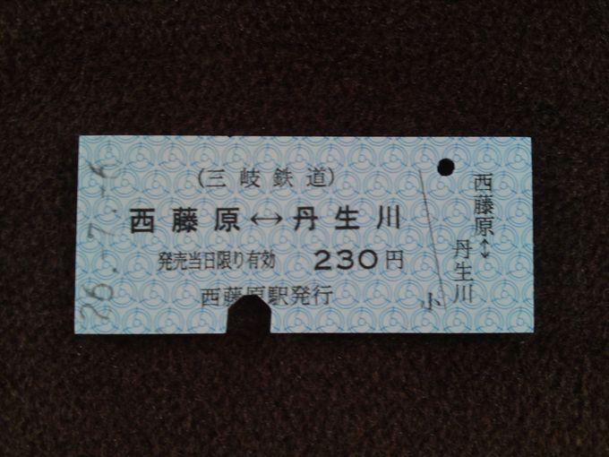 今では珍しい硬券切符!改札時はきちんと鋏を入れてくれます。