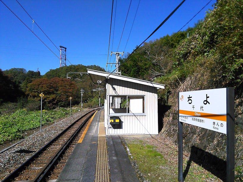 駅の看板を触ると長生きすると言われる「千代駅」