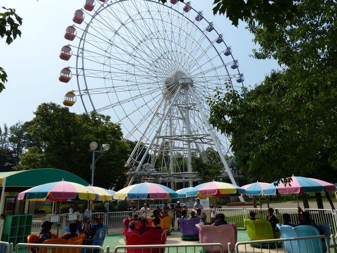 まずは遊園地ゾーン 中学生以下は500円、大人も1000円で乗り放題