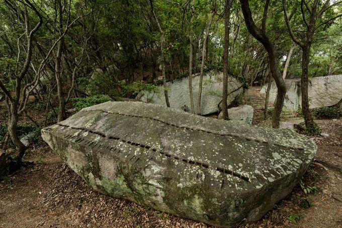 矢穴の跡が残る多数の種石群