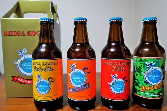 館内1Fの試飲コーナーで銘酒「縁喜」と「志賀高原ビール」を味わう