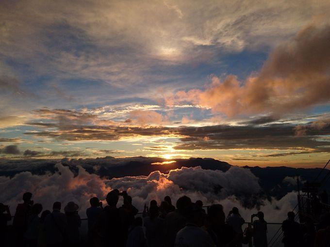 時間の経過とともに変化する雲と夕日のコラボ