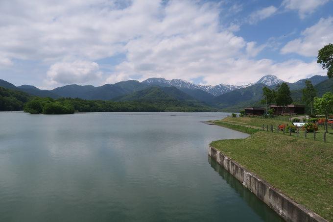 途中の笹ヶ峰ダムで湖面を走る爽やかな風に癒させる