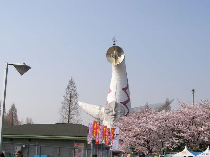 入口から桜と太陽の塔のお出迎え