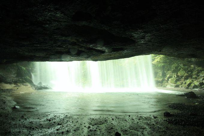 裏に入れる珍しい滝