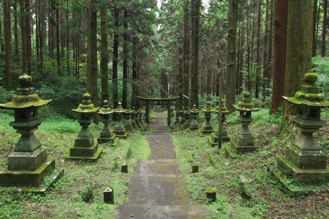 神殿まで続く長い階段と並ぶ灯籠
