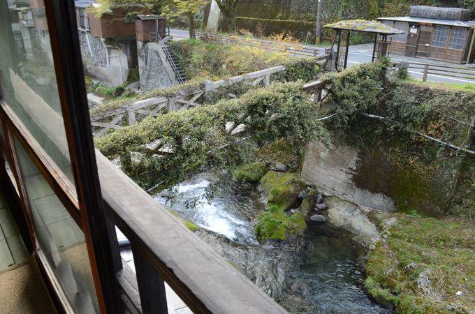 部屋から眺める湯出川の景色