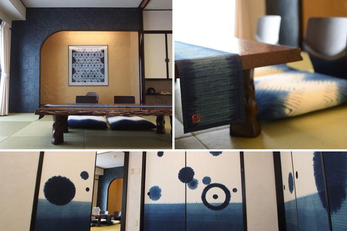 宿泊は「アオアヲ ナルト リゾート」の阿波藍ルームで