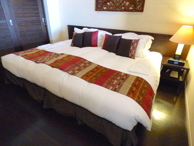 部屋のベッドルームはハリウッドツインタイプでたっぷりワイドでゆったり睡眠できる