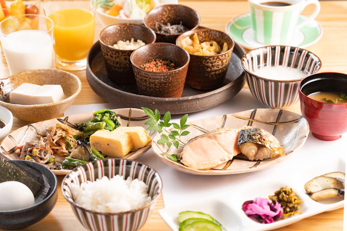 朝食ブッフェは京都らしさを演出
