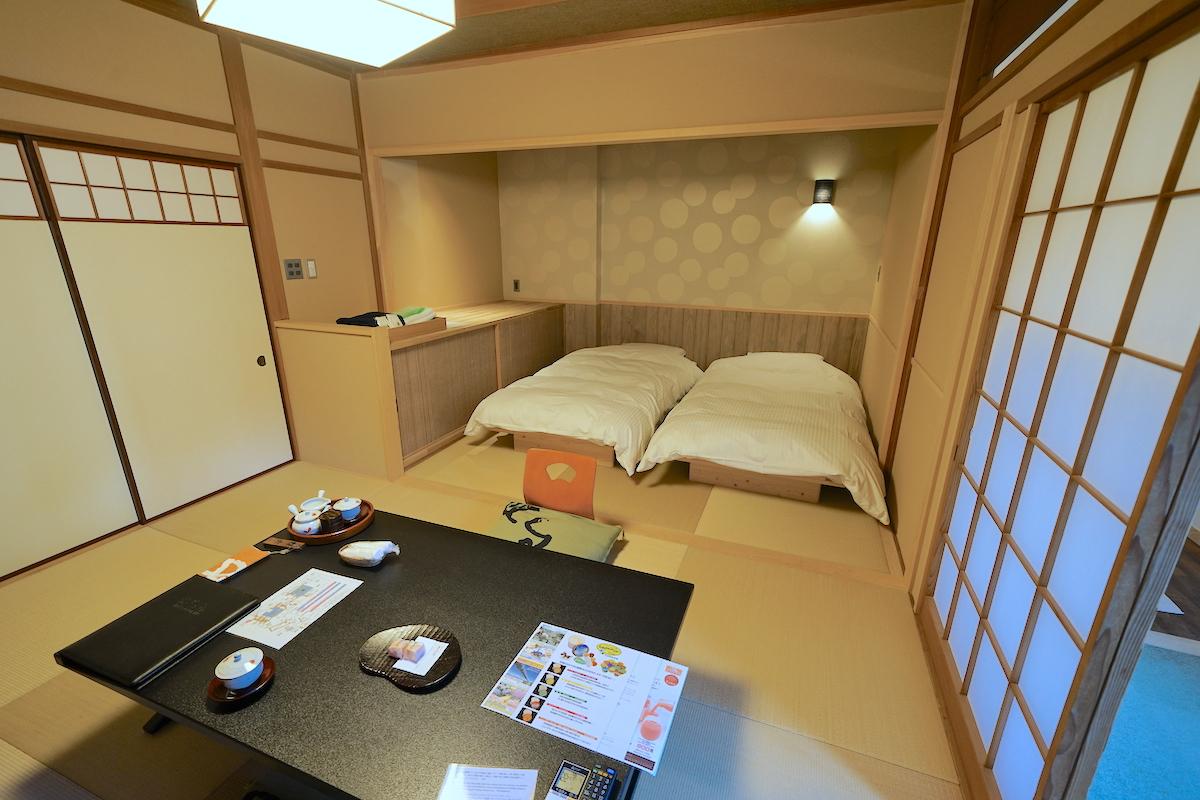 ベッドのある客室は1番新しいモダンな作り